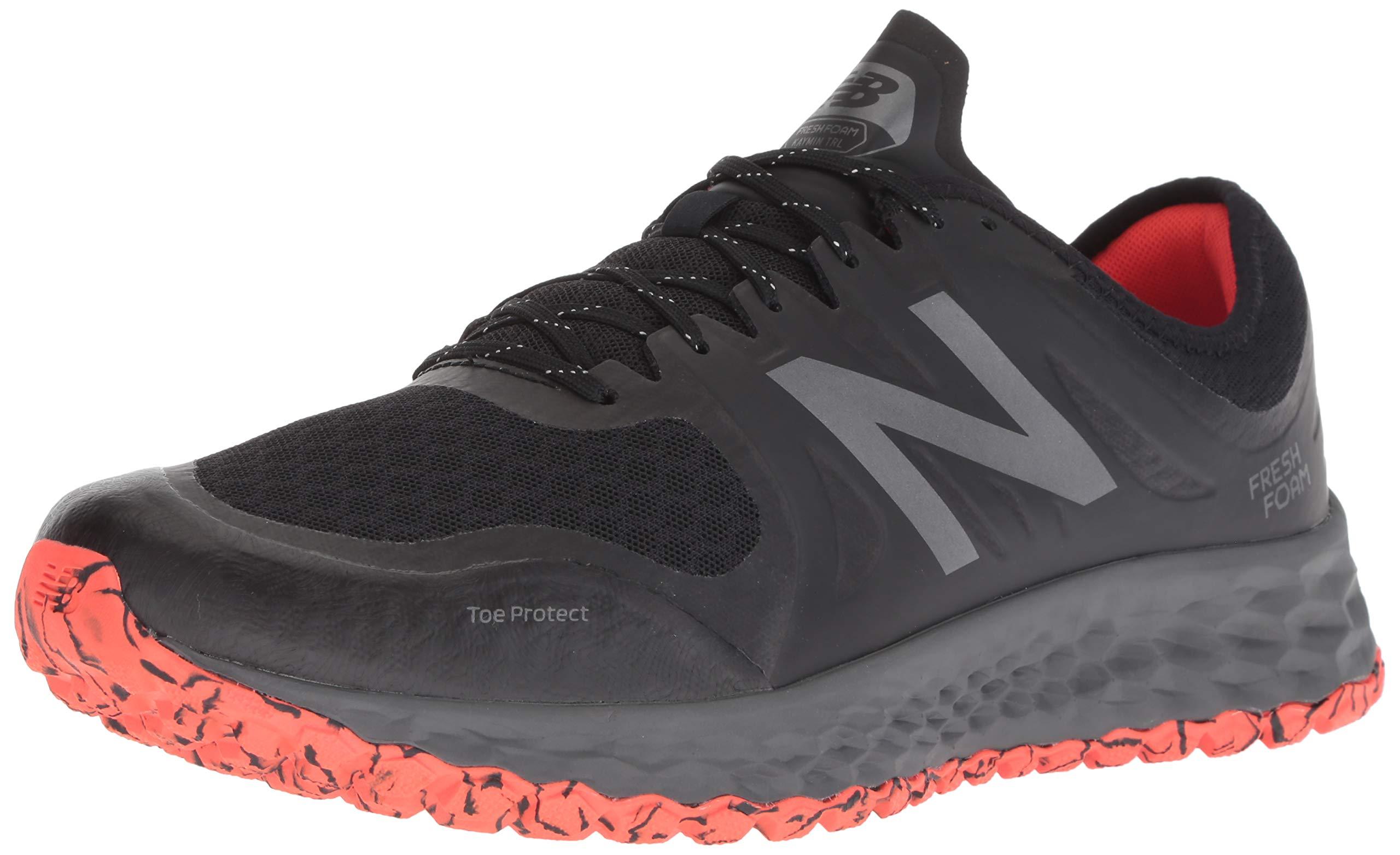 New Balance Men's Kaymin V1 Fresh Foam Trail Running Shoe, Black/Flame/Reflective, 1.5 D US by New Balance (Image #1)