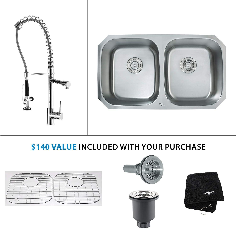 "Kraus KBU22-KPF-1602CH Kitchen Combo - 32-1/4"" Undermount Double Basin 16-Gauge Stainless Steel Kitchen Sink with Pre-Rinse Kitchen Faucet"