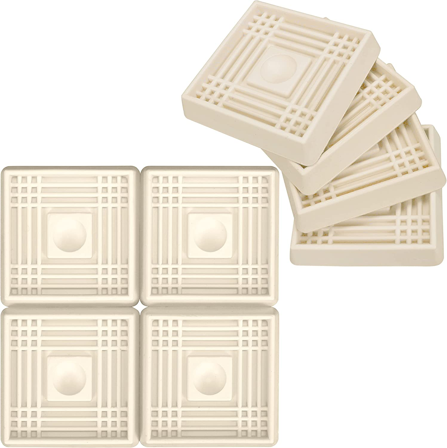 Harrier Hardware Rubber Furniture Pad Caster Cups, 2-Inch Square, Almond, 8-Pack