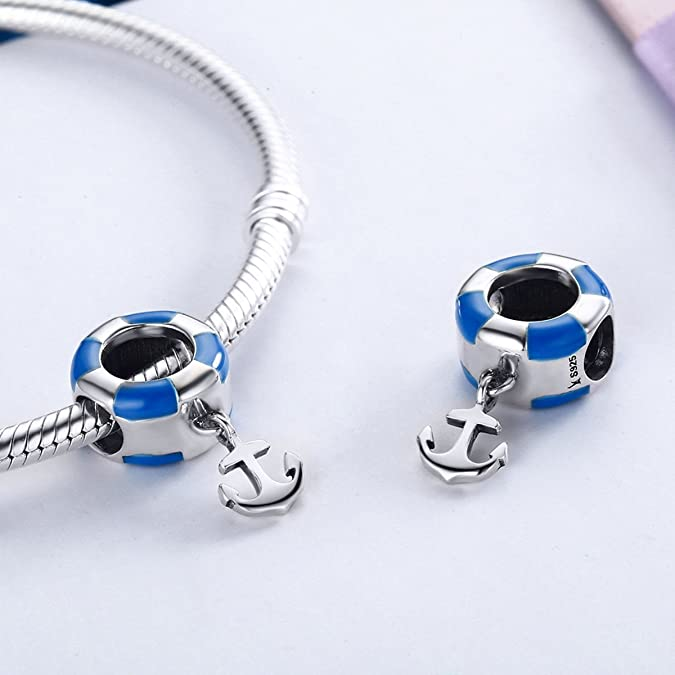 Dangle Anchor Blue 925 Sterling Silver Charms Beads fit Bracelets Birthday Valentine's Day Jewellery for Women Men Girl Boy 7uAOeFiZMI