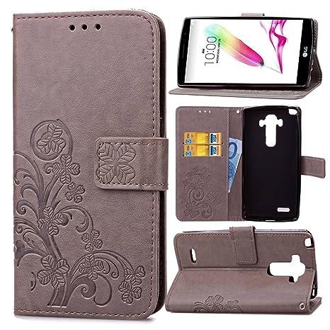 pinlu Funda para LG Stylus G4 (5.7pulgada) Alta Calidad Función de Plegado Flip Wallet Case Cover Carcasa Piel PU Billetera Soporte con Trébol de la ...