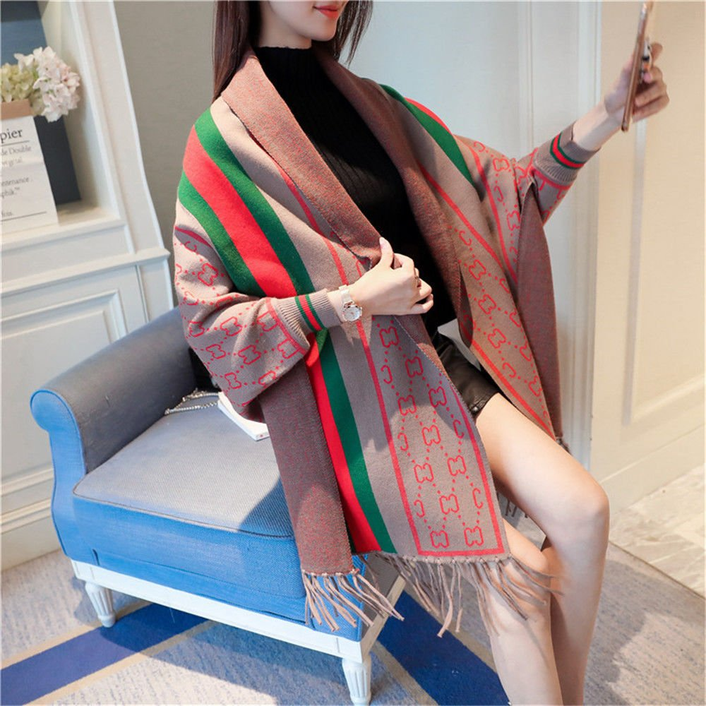 Khaki ZHANGYONG Autumn Dress Striped Long Knitting Fringed Hem AllMatch Loose Shawl,F,Beige