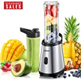 Personal Blender, Decen Mini Smoothie Blender with 2 x 20 oz Tritan BPA-Free Travel Bottles for Juices, Shakes, Smoothie and Baby Food, Titanium-coated Stainless Steel Blade,300W