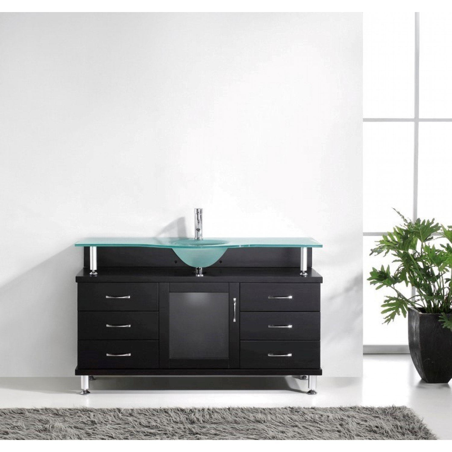 Virtu USA MS 55 FG ES Vincente 55 Inch Bathroom Vanity With Single Sink  With Frosted Tempered Glass Countertop, Espresso Finish     Amazon.com