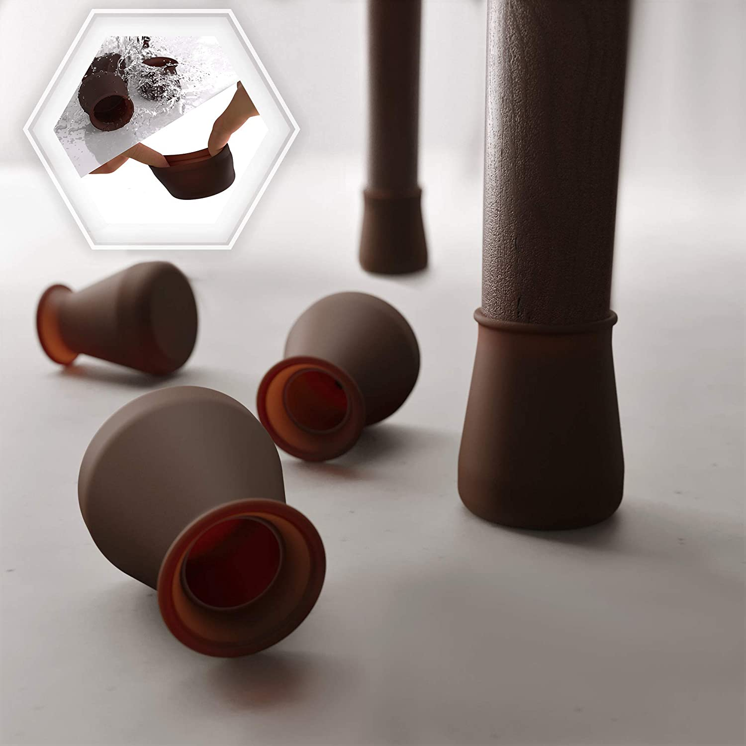16 PCS SMALL SIZE Dark Walnut Color Silicone Chair Leg Floor Protectors – Anti-Slip Furniture Silicon Protection Cover-Silicone Furniture Leg Caps. Protect furniture & floors from scratches and noise.