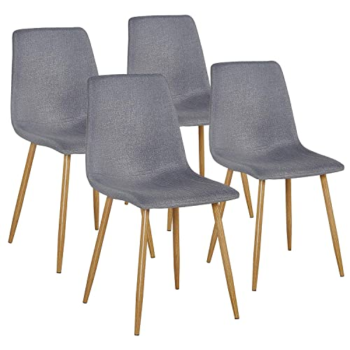 VECELO Modern Side Chairs Fabric Cushion Seat Back Sturdy Metal Legs for Dining Living Room, Set of 4, Gray