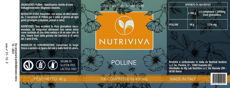 NUTRIVIVA - 100 Tabletas de Polen de 400 mg | Suplemento ...