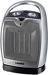 Lasko Ceramic Portable Space Heater with Adjustable Thermostat - Features Widespread Oscillation to Distribute Warm Air, Silver 5409