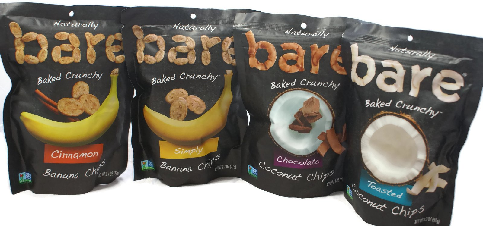 Variety Pack - Bare Fruit Chips - Toasted Coconut (3.3 oz), Chocolate Coconut (2.8 oz), Simply Banana (2.7 oz), Cinnamon Banana (2.7 oz) by General (Image #1)