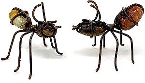 Metal Garden Art Decor Collectible Funny Sculptures Figurines Rustic Handmade Indoor Outdoor Bugs Ants Set of 2 (Ants W)