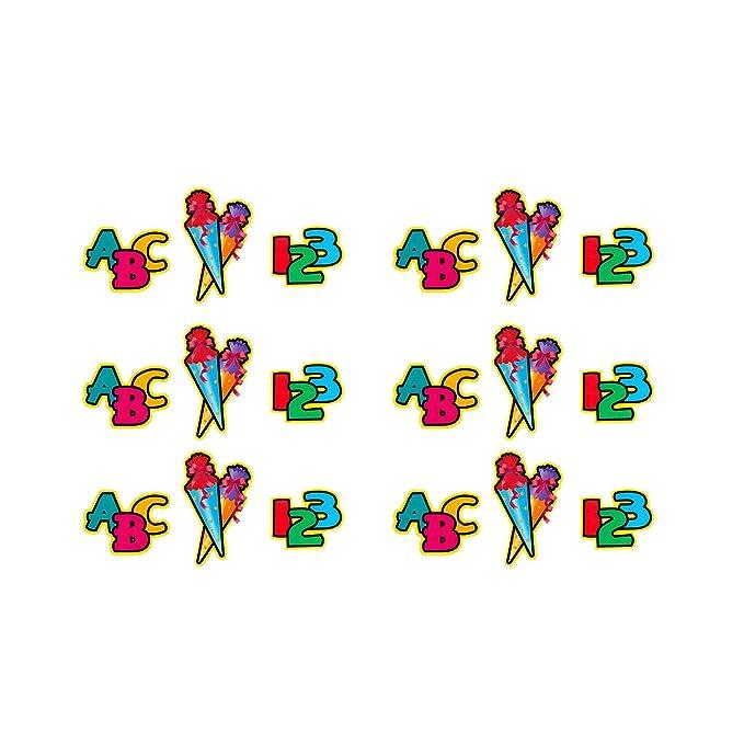 6x Deckenhänger Spiral Girlande 123 ABC Zuckertüte Schuleinführung Einschulung