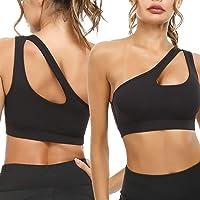 Sykooria Womens One Shoulder Sports Bras Workout Yoga Bra Sexy Cute Medium Support