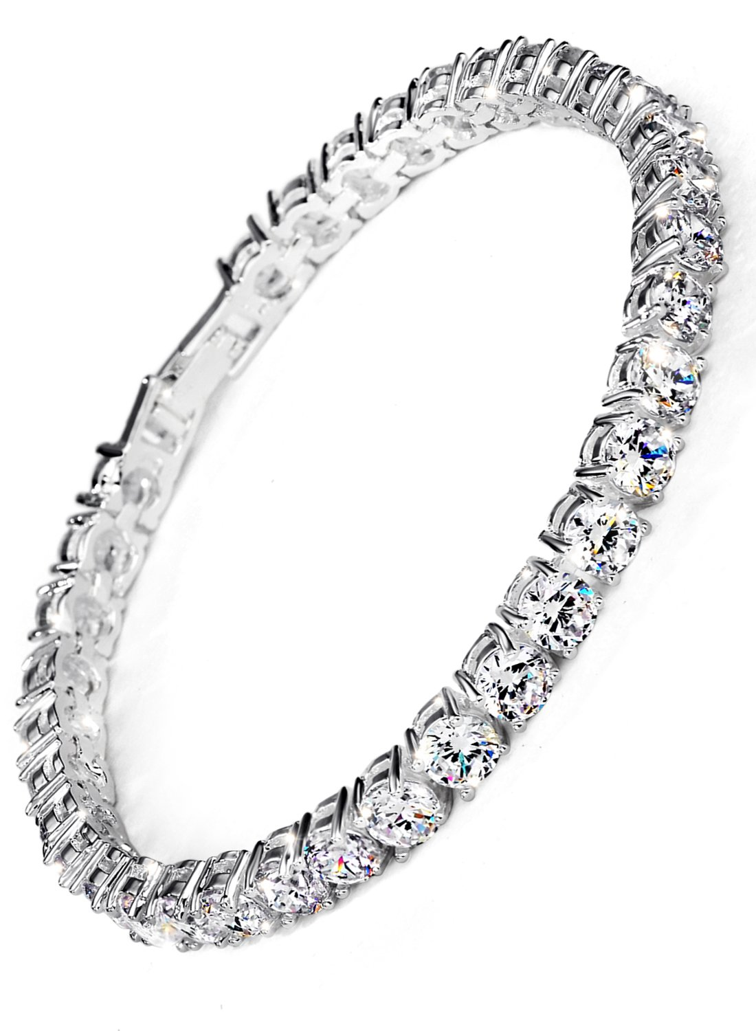 Neoglory Jewelry S925 Silver White Round-Cut Cubic Zirconia Classic Tennis Bracelet 7.7Inch by Neoglory (Image #1)
