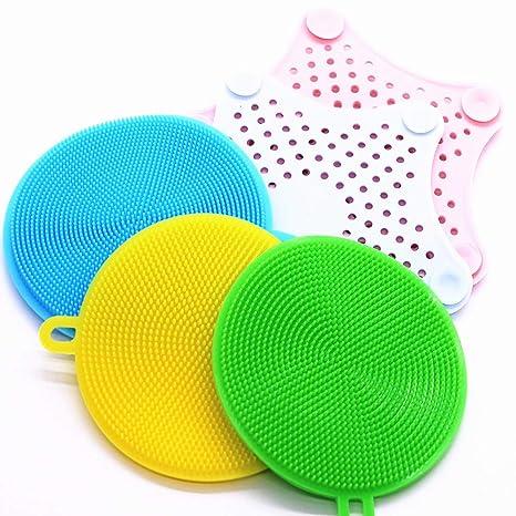 Cepillo para lavar platos de silicona, Filtro para lavabo de silicona para estrellas de mar, ...