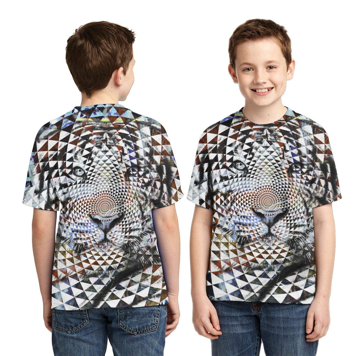 Psychedelic Tiger Boys Print Graphic Tee Short Sleeve T-Shirt