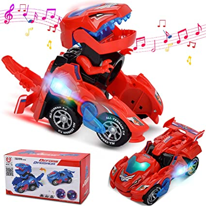 LED Deformation Car Toys Kids Dinosaur Playing Vehicles Toys with Light Music