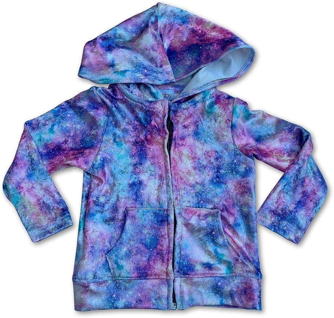 Sol Baby Lavender Crushed Velvet Galaxy Print Zip Up Hoodie Jacket