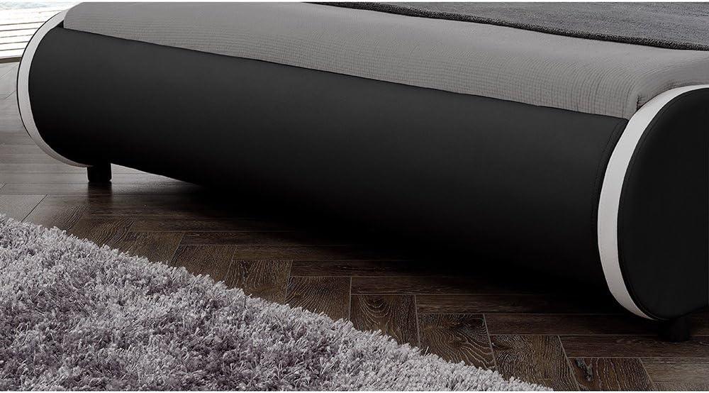 """140x200cm Letto Moderno//Similpelle//con Rete a doghe di Legno // Corium Letto Imbottito Valencia/"""" con Illuminazione LED Nero"""