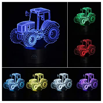 Amazon.com: Lámpara 3D de acrílico plano 7 colores ...