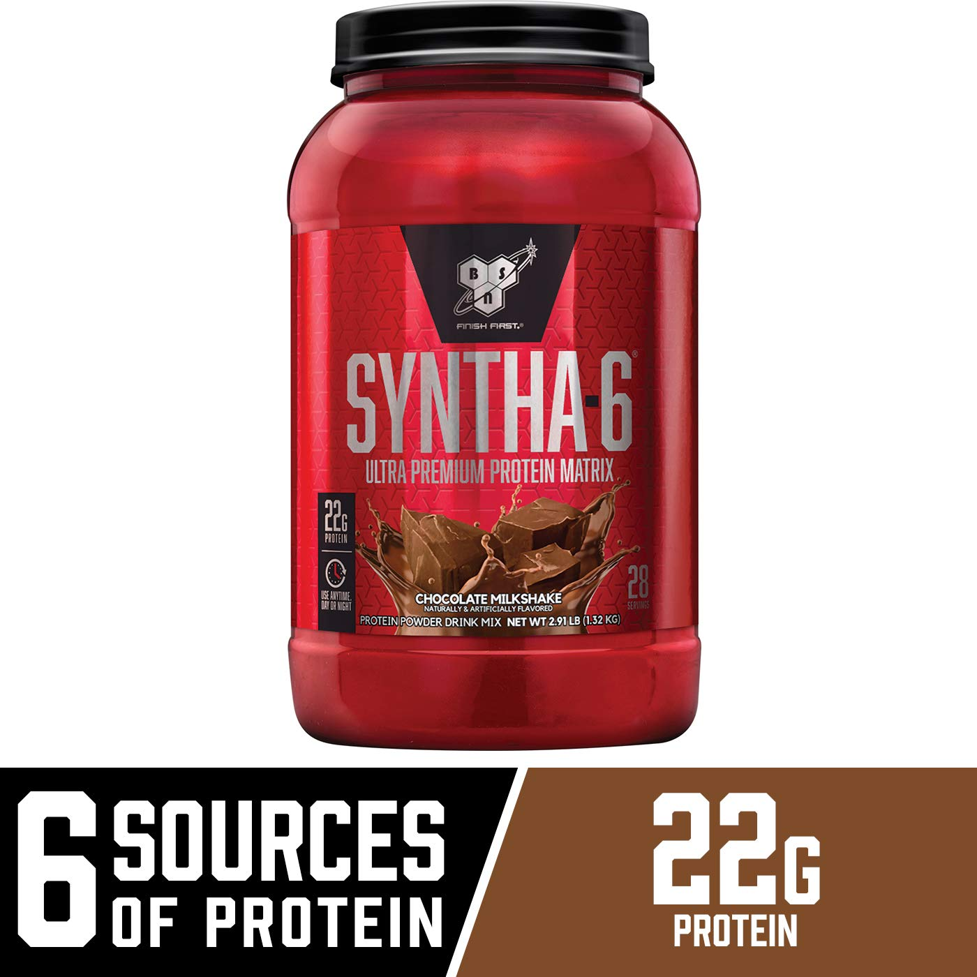 BSN SYNTHA-6 Whey Protein Powder, Micellar Casein, Milk Protein Isolate Powder, Chocolate Milkshake, 28 Servings Package May Vary