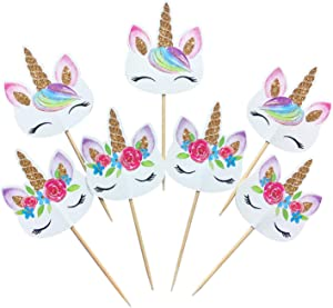 24-pack Rainbow Unicorn Cupcake Toppers Picks, Double Sided Unicorn Cake Toppers Limited Time Reduced Price, Birthday Baby Shower Party Decorations Supplies. EPICCAKE TRADEMARK PACKAGING INCLUDED
