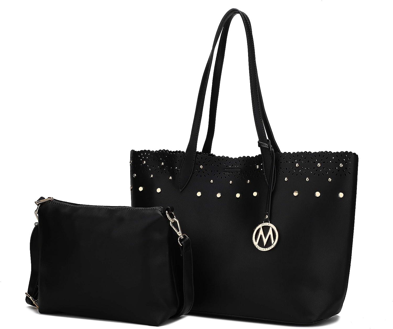 MKF 2-PC Set, Handbag for Women Satchel Tote, Pouch Handbag Purse Set, Adjustable Shoulder Bag Strap PU Leather