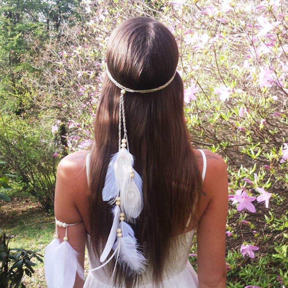 Diadema para el cabello con plumas para mujer de color blanco Jovono