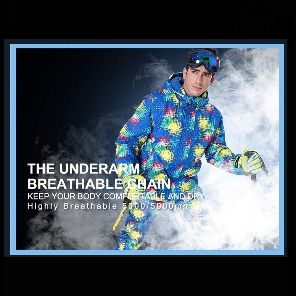 Lixibei Men Snowboard-Jacke hohe Winddichtes Technologie Bunte Skijacke Hosen Set Schneeanzug Sport Anzug Wandern Anzug Jogging-Anzug,Blau,M