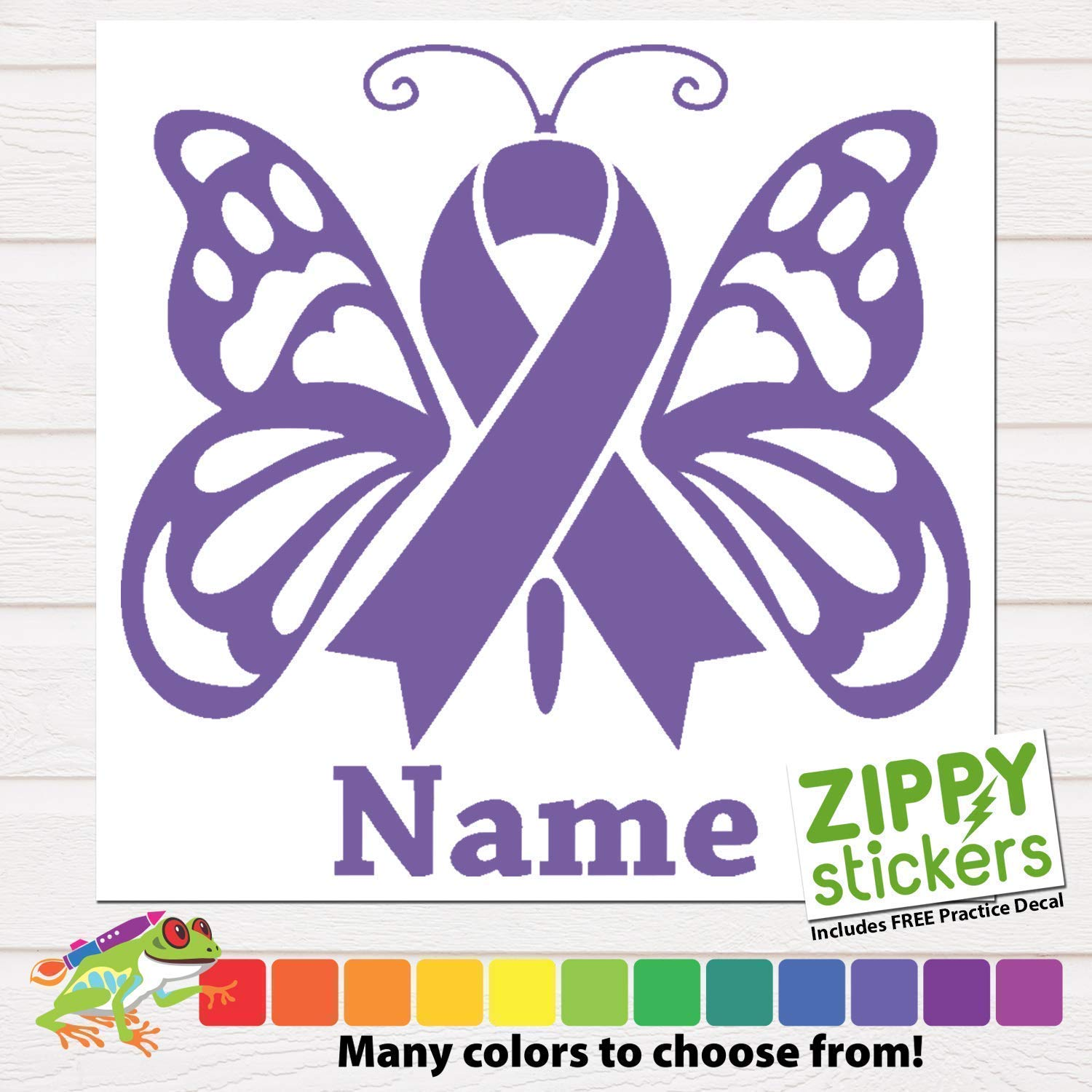Custom cancer memorial memoriam butterfly ribbon vinyl decal sticker with name cancer ribbon decal in memory of butterfly personalized for car windows