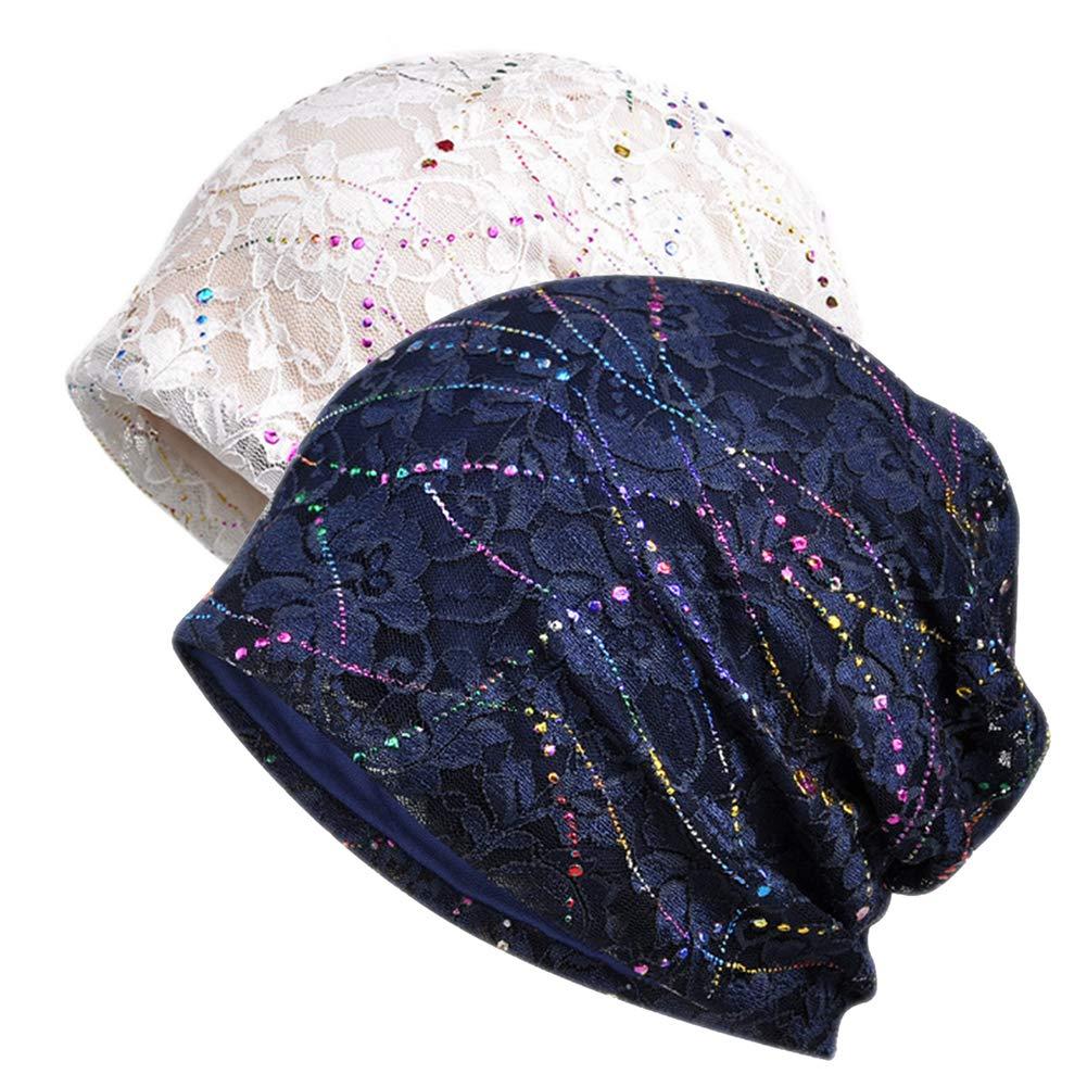 Women's Sleep Soft Headwear Cotton Lace Beanie Hat Hair Covers Night Sleep Cap (Color mix1&2)