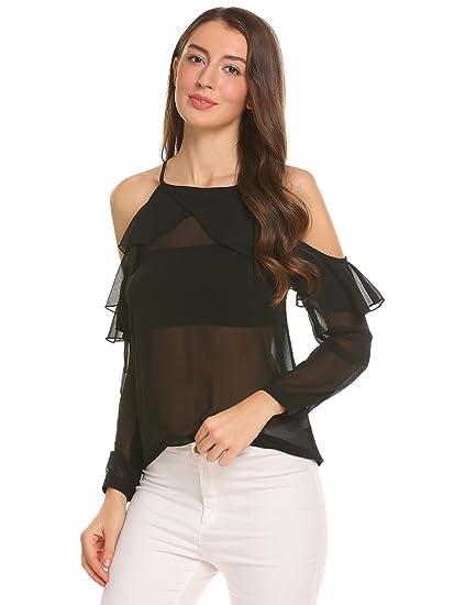 Blusa sexy de manga larga y con hombros al aire.