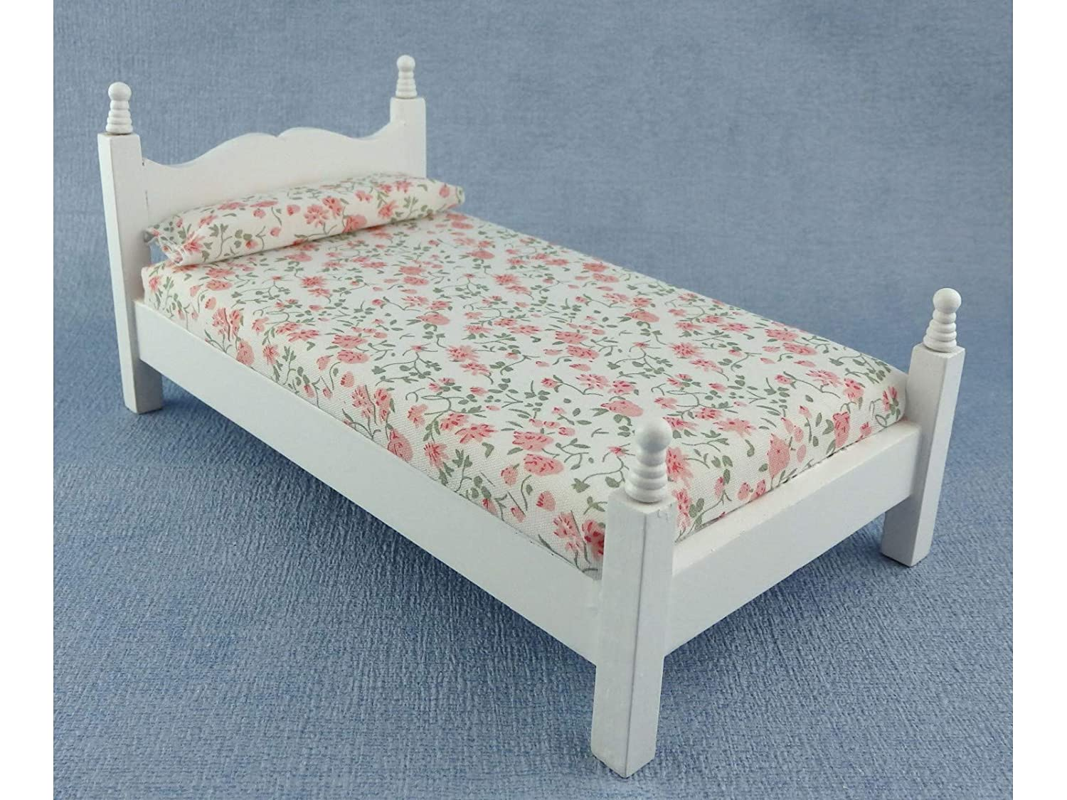 【楽ギフ_のし宛書】 Dolls House White Miniature Bedroom Scale Furniture 1:12 White Wooden Single Bed 1:12 Scale B01BHUNDIM, アンプルール VERY店:589225f3 --- diceanalytics.pk