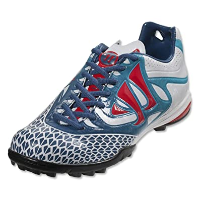 856e23ca5f41 Warrior Skreamer Combat TF Football Trainers White Dark Navy Fiery Red -  size 7.5