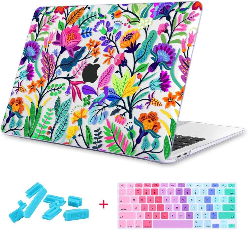 "Maychen MacBook Air 13 inch Case 3 in 1, 3D Printing Hard Shell Light Weight Case for MacBook Air 13"" Model A1369 & A1466 (Colorful Flowers and Tropic Leaves)"