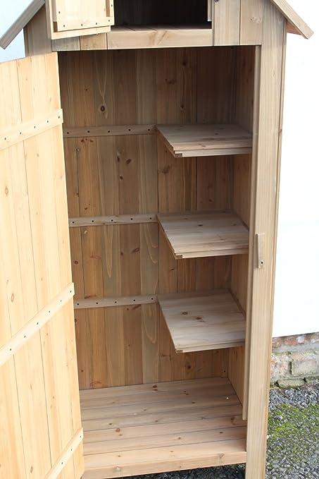 Armario de madera/minicobertizo para herramientas de estilo Brighton para exterior o jardín en tono natural: Amazon.es: Jardín