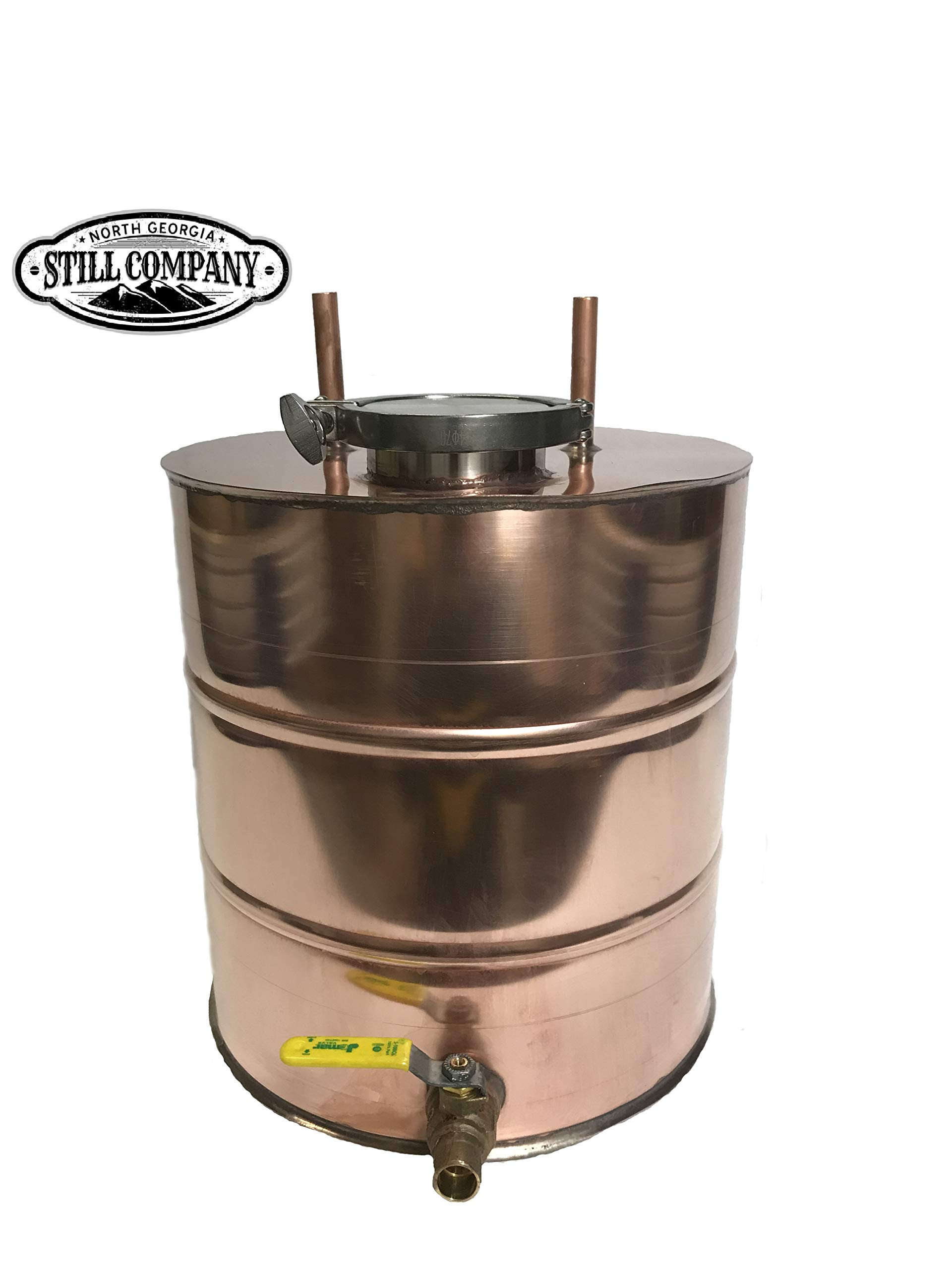 Moonshine Whiskey Still 5 Gallon Thumper Keg Doubler with 3 Inch Fruit Port & Ball Valve Drain, 1/2 OD Tubing by North Georgia Still Company