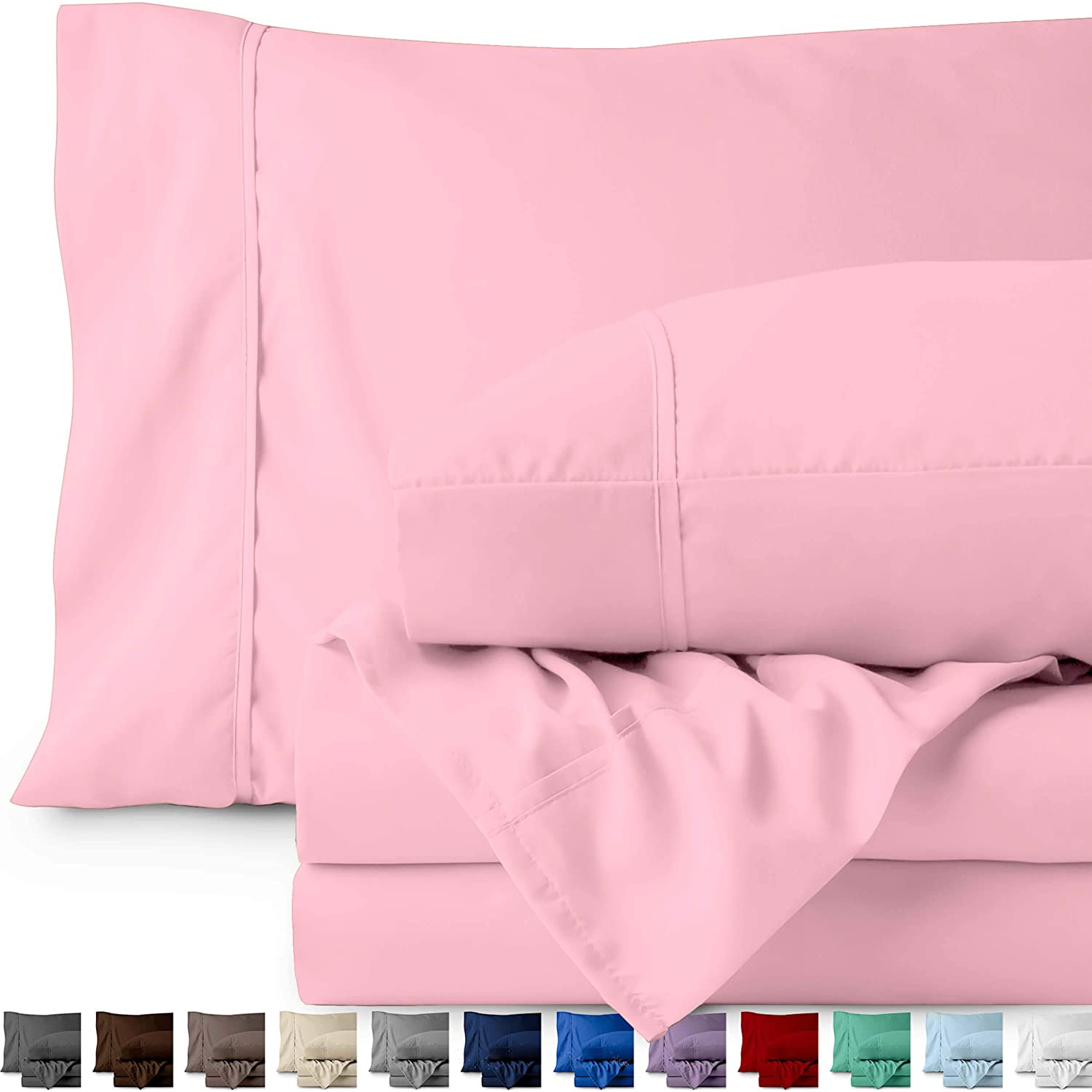 Bare Home Twin XL Sheet Set - College Dorm Size - Premium 1800 Ultra-Soft Microfiber Sheets Twin Extra Long - Double Brushed - Hypoallergenic - Wrinkle Resistant (Twin XL, Light Pink)