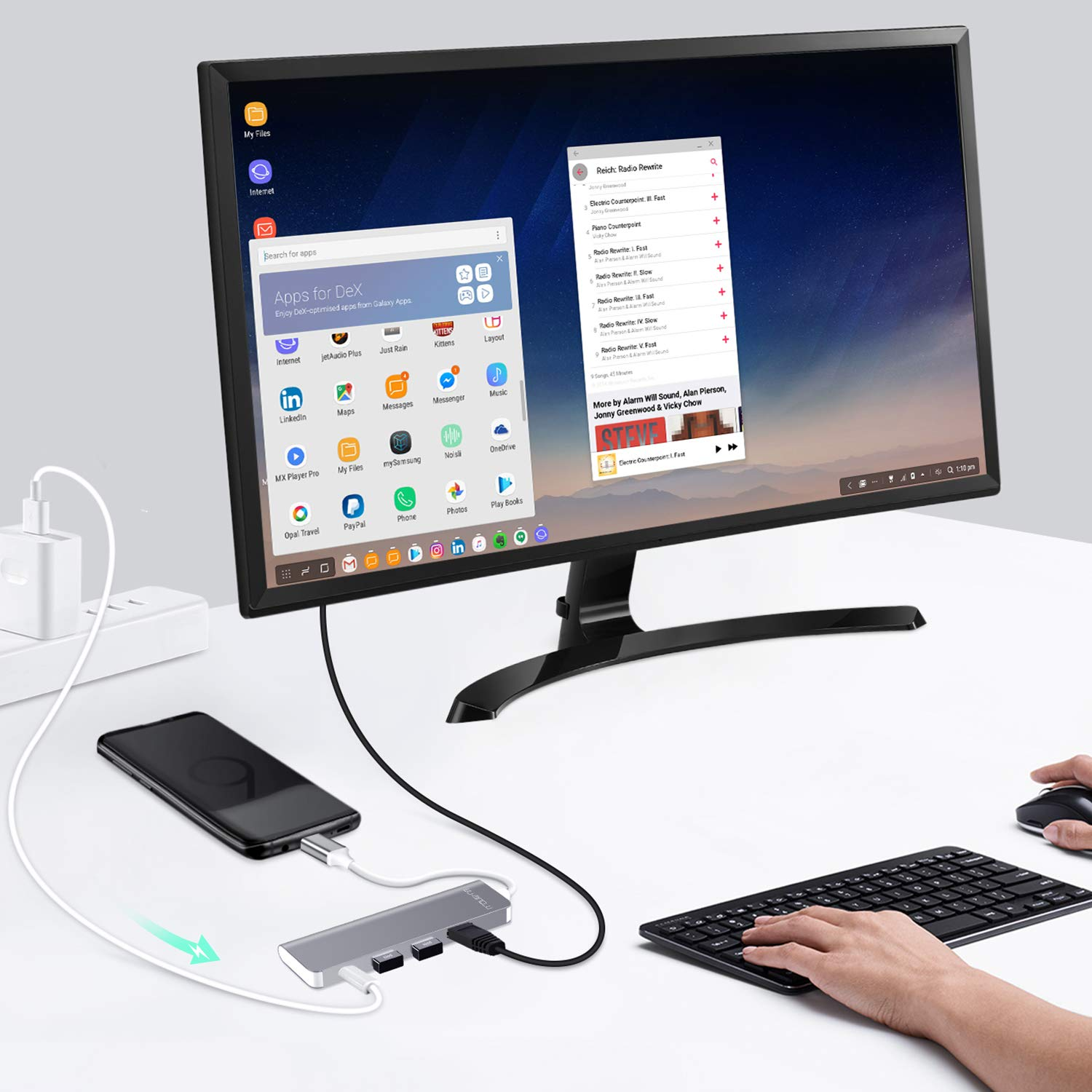 WU-MINGLU USB C Hub Samsung Dex Station für S8/S8+/S9/S9+/Note8,Typ C zu 4k HDMI Adapter USB 3.0 Power Delivery Kompatibel mit MacBook/MacBook Pro,Nintendo Switch und Thunderbolt 3 Geräte
