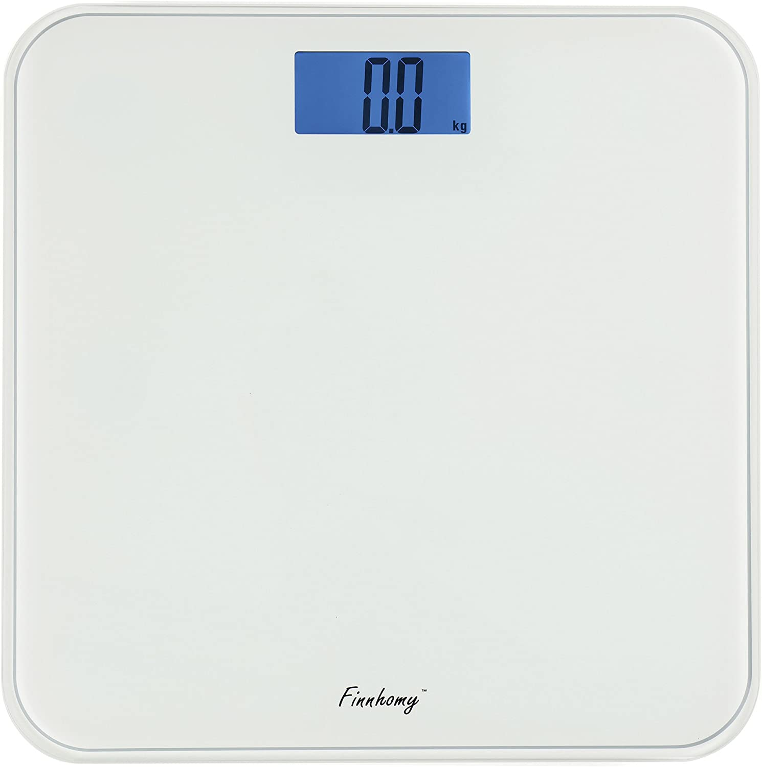 Finnhomy Digital Body Weight Bathroom Scale Step-on Auto-Calibrated 180 kg 400 lb Large Capacity Clear Backlit LCD Display Lager Platform 4 Precision Sensors Artistic Integrate Back White Color