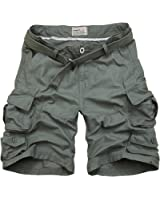 Win8Fong Men's Summer Modern Style Casual Cargo Shorts Pants Loose Pockets Trousers