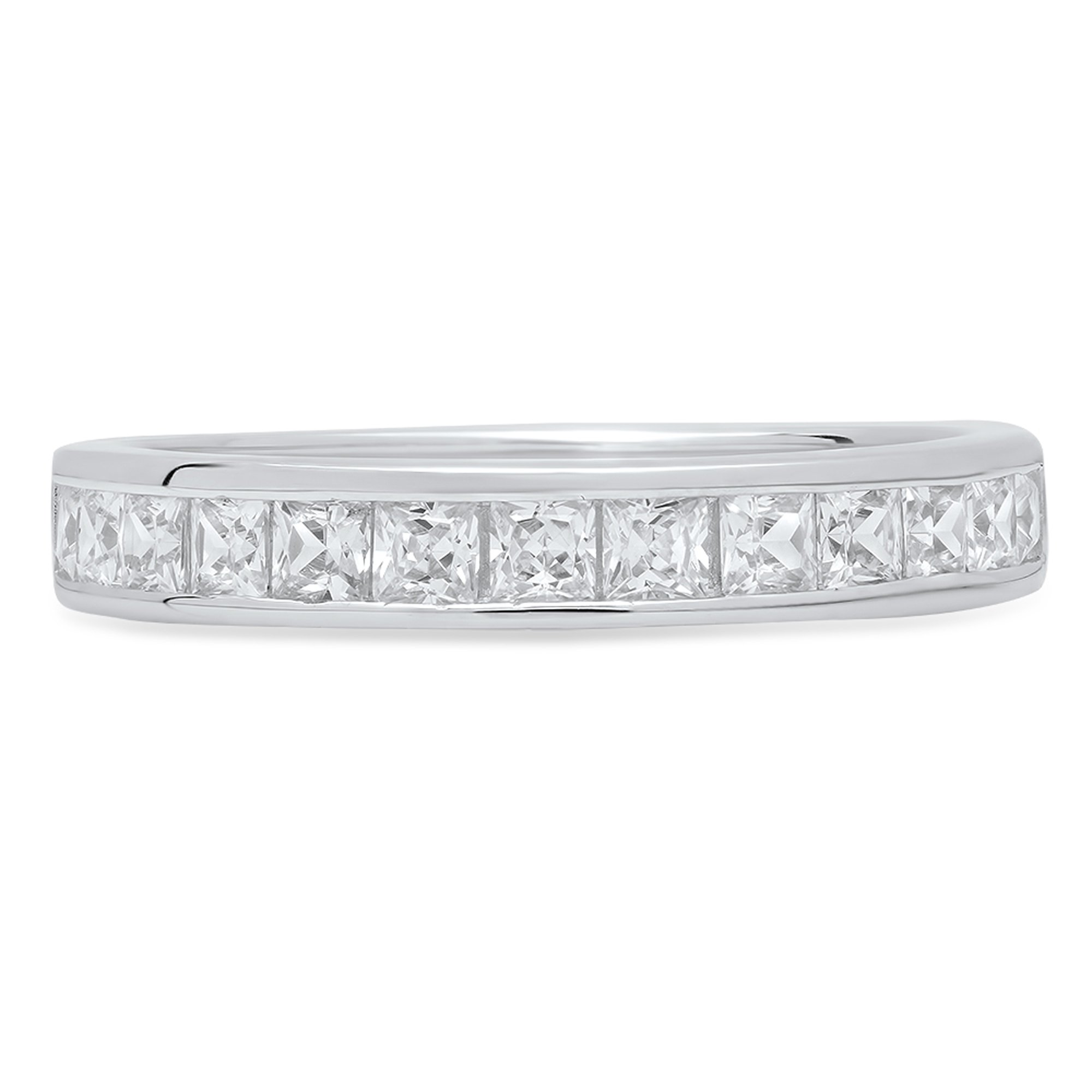 2.20 ct Brilliant Princess Cut Stacking Channel Setting Statement Classic Designer Solitaire Anniversary Engagement Wedding Bridal Promise Bands in Solid 14K White Gold by Clara Pucci