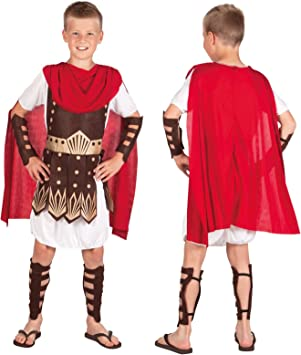 Childs Roman Armour Weapon Set Boys Ancient Greek Fancy Dress Gladiator Outfit