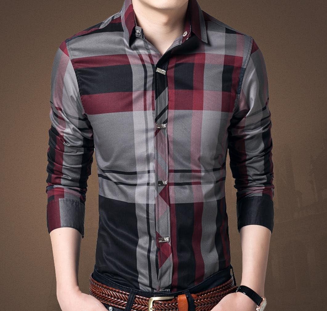 wzh Hombre Business slim manga larga camisas cuadros Camisas, color rojo vino, tamaño 4XL: Amazon.es: Deportes y aire libre