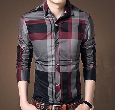 wzh Hombre Business slim manga larga camisas cuadros Camisas ...