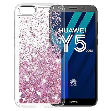 selezione migliore 35a1a d6d14 MASCHERI Cover per Huawei Y5 2018, Glitter Brillantini Scintillante  Cristallo Silicone Protettiva Telefono Custodia per Huawei Y5 2018 - Oro  Rosa