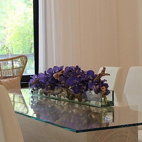 Driftwood Vanda Orchids Centerpiece In Glass Planter Home Kitchen