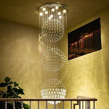 Candelabros Duplex Hall Villa Escalera lámpara de Cristal arañas Colgantes Luces de la Escalera arañas Lámparas de Cristal (Tamaño : 35 * 100cm): Amazon.es: Hogar