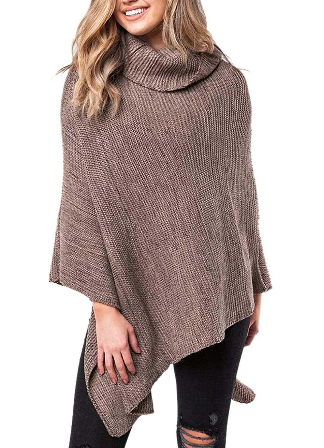 Symina Women's Loose Knitted Turtleneck Poncho Pullovers Sweater Wrap Shawl Cape