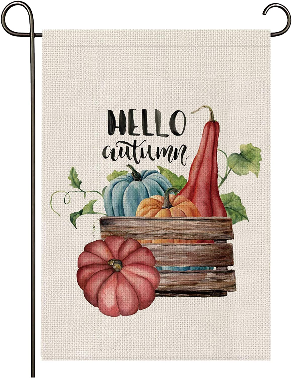 onetoze Fall Garden Flag Hello Autumn Garden Flag Vertical Double Sided, Pumpkin Patch 12.5X18inch Welcome Garden Flag, Premium Burlap Weather and UV Resistant for Yard Outdoor Decoration