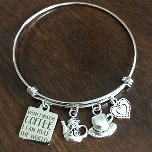 Coffee Charm Bracelet- light jade bracelet coffee charm coffee lover gift coffee lover coffee gift coffee jewelry coffee bracelet
